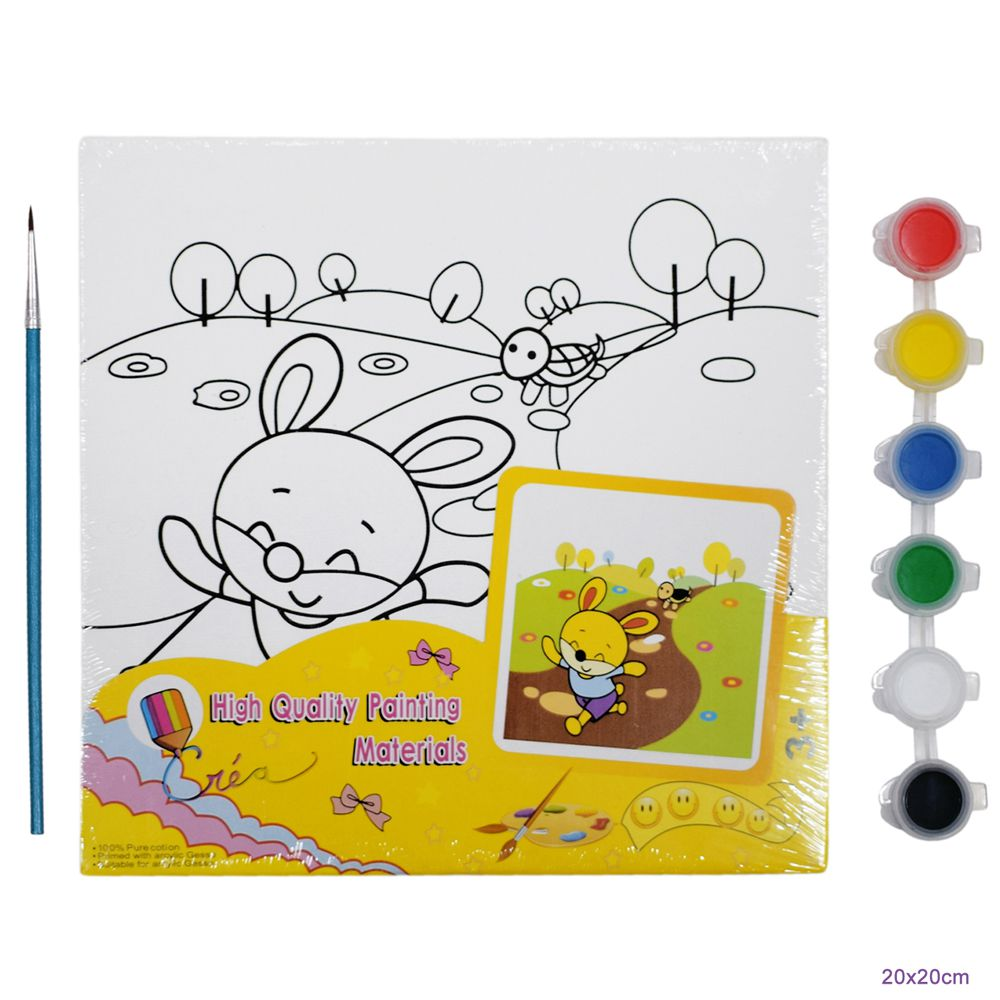 Diy canvas painting kit mini hare and the tortoise